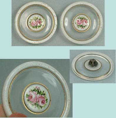 2 Antique Handpainted Roses on Enamel & Glass Buttons * French  * Circa 1890s