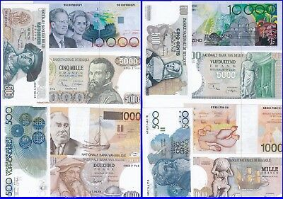 Copy !! Lot Old Belgian Banknotes--Unc--Copy--Reproductions--Not Real--
