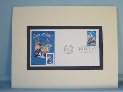 """Porky Pig - """"That's all Folks"""" & First Day Cover of his own stamp"""