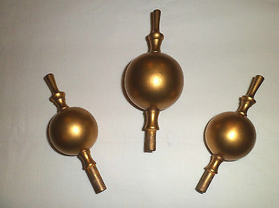 3 Wooden Gilded Gold Longcase Clock Finials....(1 Large & 2 Smaller)
