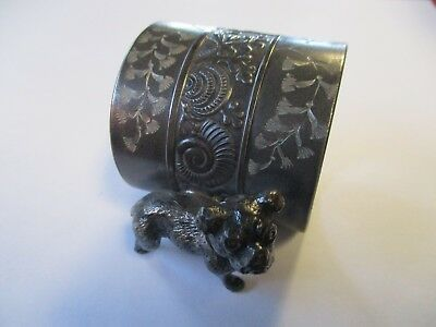Vintage Silver Plate Figural Napkin Ring Featuring A Dog