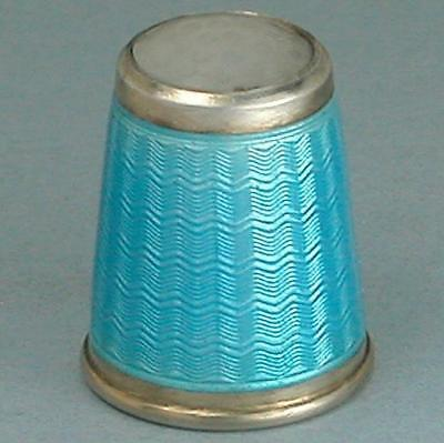 Vintage Sterling Silver Enamel Thimble by David Andersen *  Norway * Circa 1930