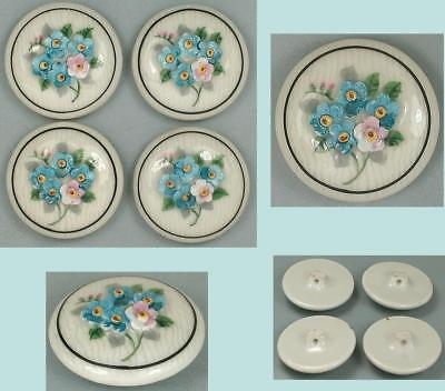 4 Gorgeous Antique Hand Painted Porcelain Buttons * Engl or French * Circa 1890s