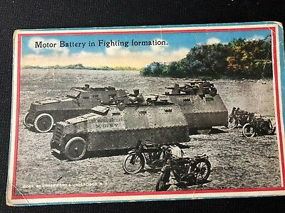 Period Post Card Motorcycles Motor Battery In Fighting Formation Ww 1