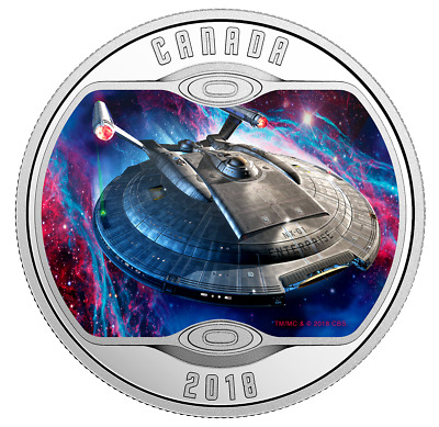Star Trek Enterprise NX-01 - Pure Silver Glow-In-The-Dark Colored Coin (2018)