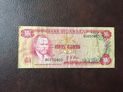 Bank Of Jamaica 50 Cent Banknote 1960