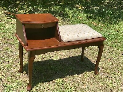 vintage antique Telephone Table Chair Seat Retro