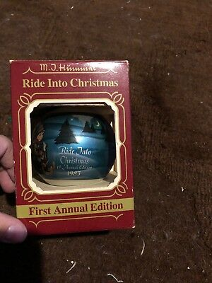 1983 Goebel Glass Ornament First Annual Edition Ride Into Christmas Mj Hummel