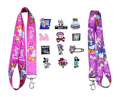 Daisy Duck Themed Starter Lanyard Set w/ 5 Disney Park Trading Pins - Brand NEW