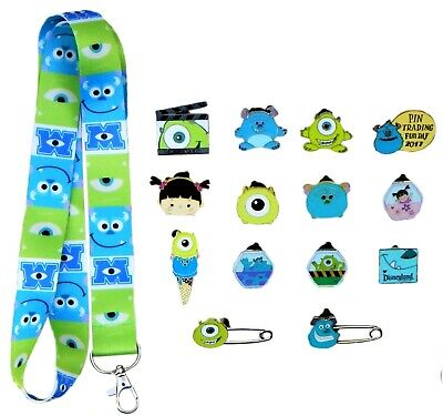 Monsters Inc. / University Lanyard Starter Set with 5 Disney Trading Pins - NEW