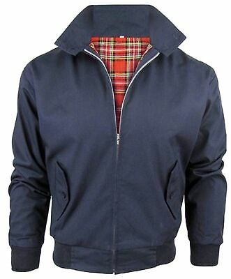 Mens Navy Blue Classic Harrington Jacket Vintage Retro Bomber Mod Coat Up To 5XL
