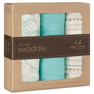 Aden + Anais 3 Pack Bamboo Swaddle Azure