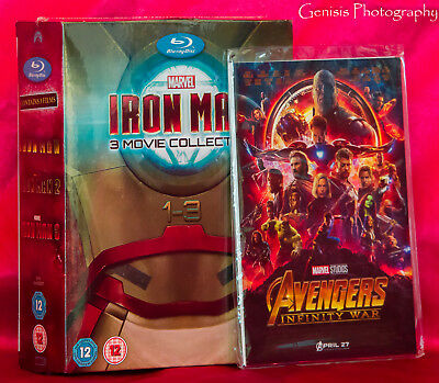 IRON MAN Trilogy 3 Movie Collection Blu-Ray Box Set + Art Cards NEW