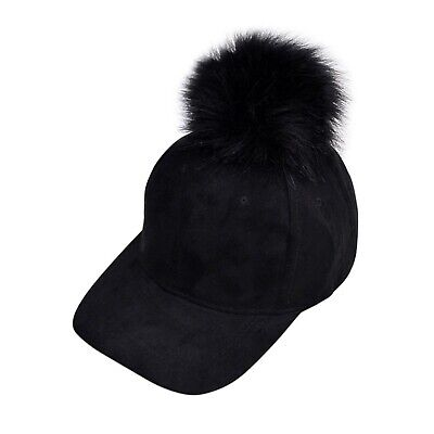 New Faux Fur Ball Pom Suede Hip Hop Hat Adjustable Baseball Cap New
