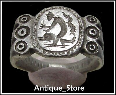 ** CUPID and DOLPHIN **Ancient Silver Legionary Greek Roman Ring *AMAZING*13,14g