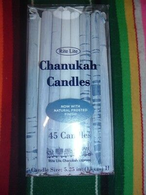 Rite Lite Chanukah Candles With Natural Frosted Finsh-45 Blue & White Candles