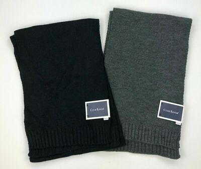 Club Room Mens Unisex Winter Knit Ribbed Trim Rectangle Scarf Black Gray