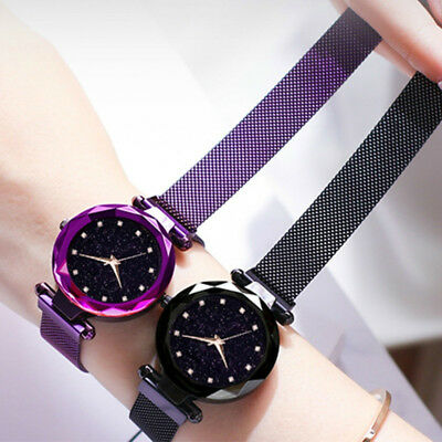 New Luxury Womens Starry Sky Watch Magnet Straps Buckle Fashion with Star Watch