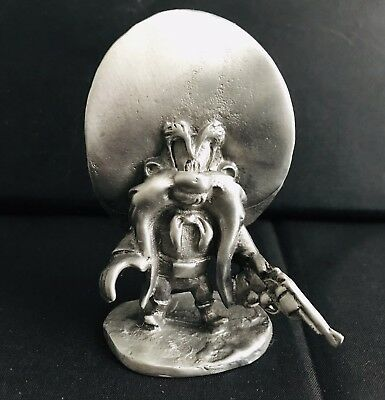 LARGE Pewter YOSEMITE SAM Warner Bros Looney Tunes Silver Metal Figurine Statue