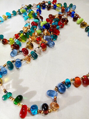 """Vintage 1930's 44"""" Long Colored Art Bead Rope Necklace Murano Style"""