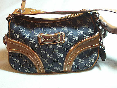 Sophia Caperelli Canvas Leather Satchel Handbag Blue And Brown