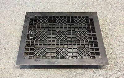 EXCELLENT ANTIQUE Floor GRILLE CAST IRON 14x10 + LOUVERS Grate HEAT REGISTER