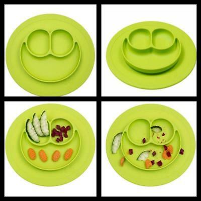 Kids Mini Mat Toddler Food Plate One piece silicone placemat eating Tray Lime