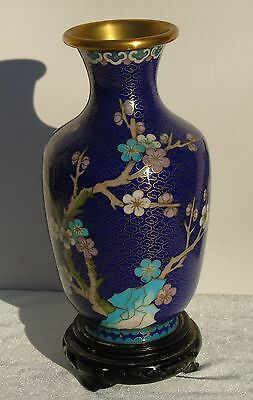 Vintage Chinese Cloisonne Vase w/ wood stand Blue Pink Cherry Blossoms Bird 7""