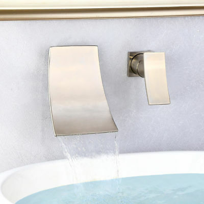 Finished Brushed Nickel Wall Mounted Waterfall Bathroom Hand Wash Sink Faucet