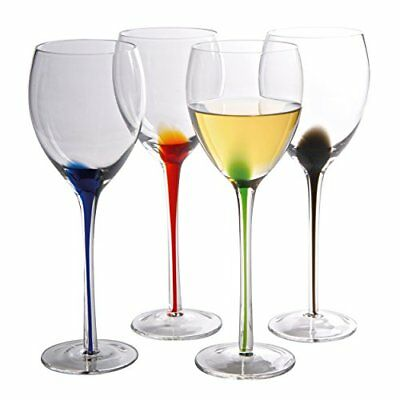 Artland Splash 11 oz Wine Glasses (Set of 4), Multicolor FREE2DAYSHIP TAXFREE