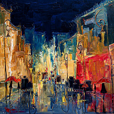 Canvas print Abstract oil painting night rainy street printed on canvas L1419