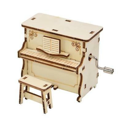 Wooden Carved Piano Music Box Musical Toy Hand Cranked Kids Gift Home Decor