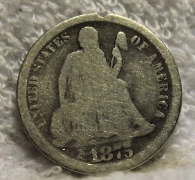 1875 CC seated dime above bow