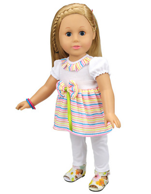 Fit For 18'' American Girl New Set White Long Pants Striped T-shirt Doll Clothes