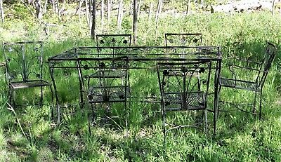 VINTAGE EARLY 20th CENTURY WROUGHT IRON GARDEN PATIO SET TABLE+6 CHAIRS