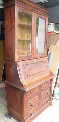 Walnut Victorian Slant Front Secretary Desk with Bookcase Top 1880 from Estate