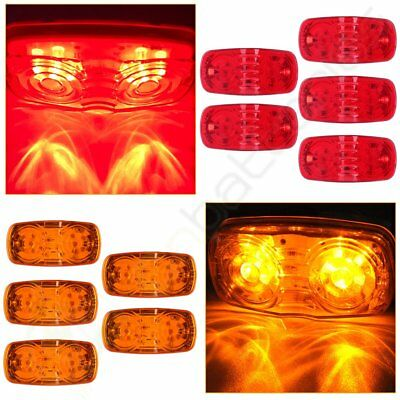 """5x Amber 5x Red Double Bullseye 4"""" Trailer Side Marker Clearance Light 12 Diodse"""