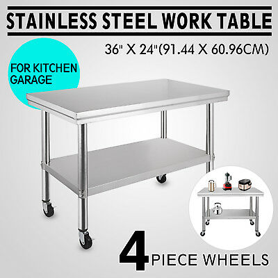 "24""x36"" Stainless Steel Prep Work Table 4 Caster Adjustable Height Shelving"