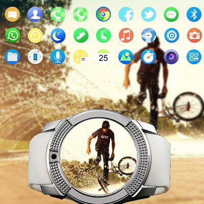 V8 With Camera Waterproof Bluetooth Smart Watch Sports Fitness Support SIM Card