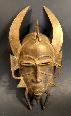 Old African Bronze Senufo Mask - Côte d'Ivoire - Early 20th Century
