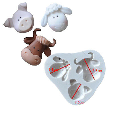 1pc cute Pig Cow Sheep Animal Silicone mold fondant mold cake decorating tools