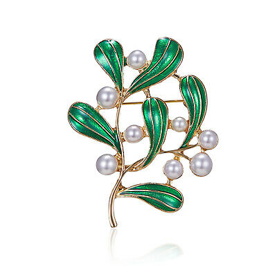Women Exquisite Branch Pearl Painting Oil Brooch High-grade Flower Series Brooch