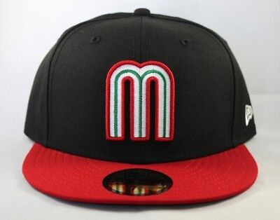 b04809ca3b2 New Era Mexico World Baseball Classic Men Women Fitted Black Red Hat 7 5 8