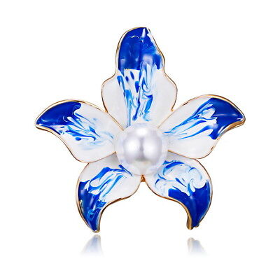 Women Fashion Blue  Acted Role Elegant Flower Pearl Elegant Picture Oil Brooch