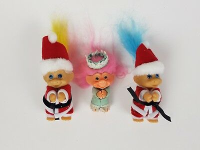 90s Vintage Troll Group of 3 Gripping Trolls Christmas Princess Unbranded
