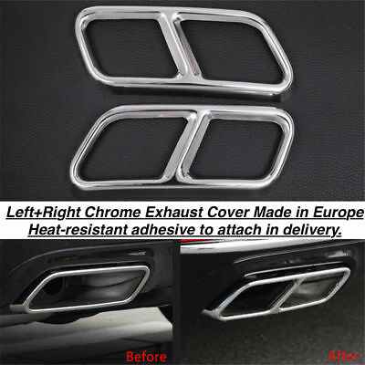 Left+Right Chrome Exhaust Pipe Cover Trim Decor Mercedes S-Class W221 (GR