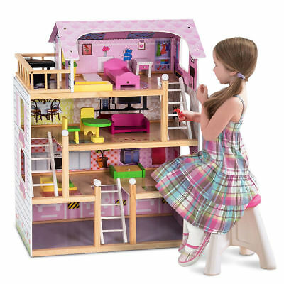 Wooden Kids 3 Storey Doll House With Furniture Accessories Playhouse Toys UK