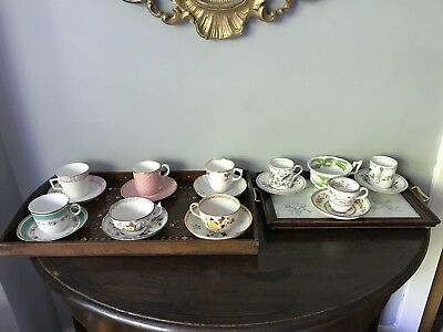 Antique 18th Century And Early 19th Century Teacups With Two Wooden Tea Trays