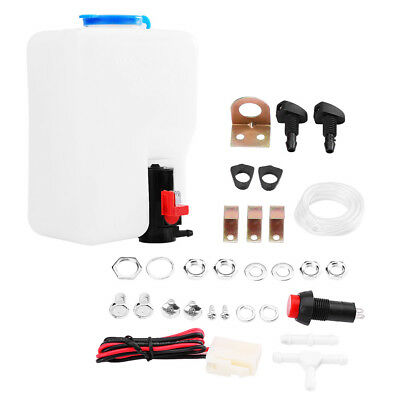 Universal 12V Car Windscreen Washer Bottle Kit and Pump Hose Jets Wiring Switch
