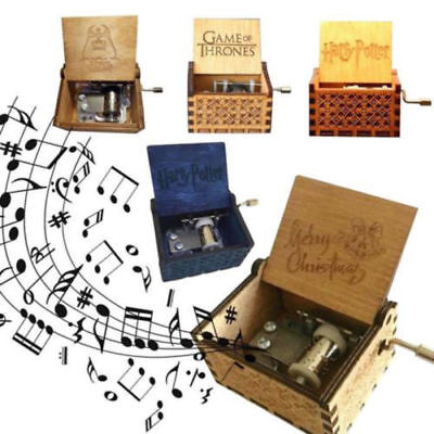 Wooden Music Box Harry Potter Game Thrones Star Wars Engraved Kids Toy Xmas Gift